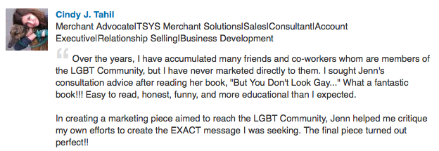 Testimonial from a statisfied Gay Marketing Critique (review service) Client